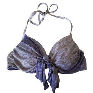 La Vie En Rose Aqua Swimsuit Bikini Top Denim Style Wrap Tie Size Small